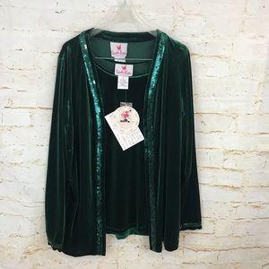 NWT Quacker Factory S green velvet cardigan set